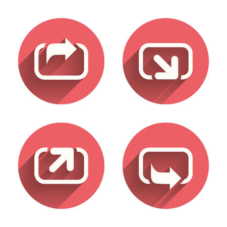 forward arrow: Action icons. Share symbols. Send forward arrow signs. Pink circles flat buttons with shadow. Vector
