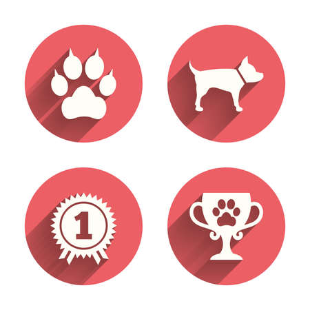 pets: Pets icons. Cat paw with clutches sign. Winner cup and medal symbol. Dog silhouette. Pink circles flat buttons with shadow. Vector