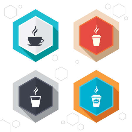 takeout: Hexagon buttons. Coffee cup icon. Hot drinks glasses symbols. Take away or take-out tea beverage signs. Labels with shadow. Vector