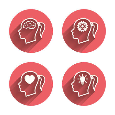 idea icon: Head with brain and idea lamp bulb icons. Female woman think symbols. Cogwheel gears signs. Love heart. Pink circles flat buttons with shadow. Vector