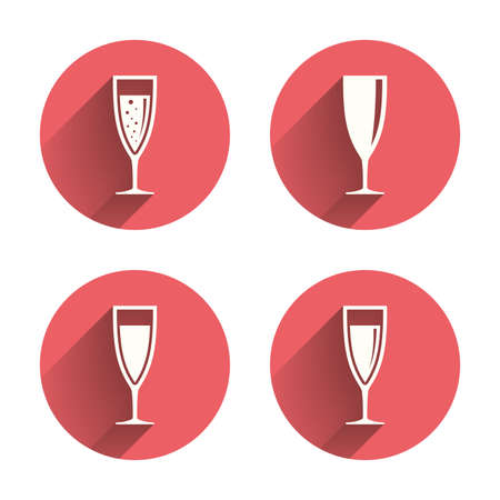 sparkling wine: Champagne wine glasses icons. Alcohol drinks sign symbols. Sparkling wine with bubbles. Pink circles flat buttons with shadow. Vector
