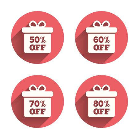 50 to 60: Sale gift box tag icons. Discount special offer symbols. 50%, 60%, 70% and 80% percent off signs. Pink circles flat buttons with shadow. Vector