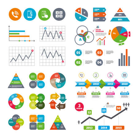 touch screen phone: Business data pie charts graphs. Phone icons. Touch screen smartphone sign. Call center support symbol. Cellphone keyboard symbol. Incoming and outcoming calls. Market report presentation. Vector Illustration