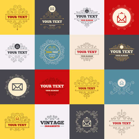 webmail: Vintage frames, labels. Mail envelope icons. Message document symbols. Post office letter signs. Scroll elements. Vector