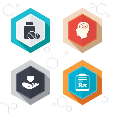 rx: Hexagon buttons. Medicine icons. Medical tablets bottle, head with brain, prescription Rx signs. Pharmacy or medicine symbol. Hand holds heart. Labels with shadow. Vector