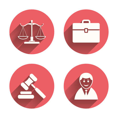auction: Scales of Justice icon. Client or Lawyer symbol. Auction hammer sign. Law judge gavel. Court of law. Pink circles flat buttons with shadow. Vector Illustration