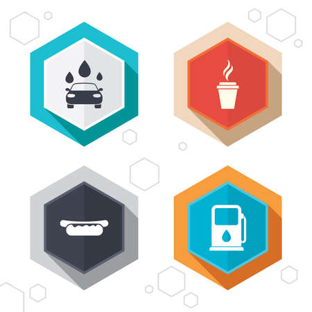 hotdog sandwiches: Hexagon buttons. Petrol or Gas station services icons. Automated car wash signs. Hotdog sandwich and hot coffee cup symbols. Labels with shadow. Vector Illustration