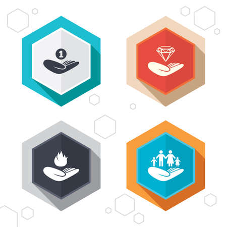 protection incendie: Hexagon buttons. Helping hands icons. Financial money savings, family life insurance symbols. Diamond brilliant sign. Fire protection. Labels with shadow. Vector Illustration