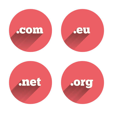 dns: Top-level internet domain icons. Com, Eu, Net and Org symbols. Unique DNS names. Pink circles flat buttons with shadow. Vector Illustration