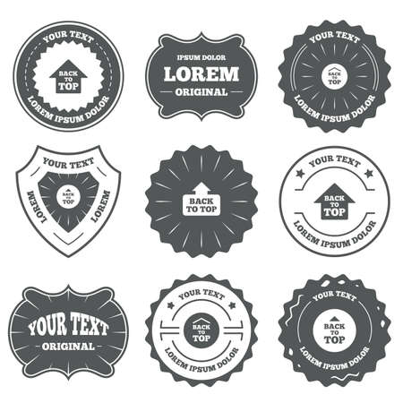 scroll up: Vintage emblems, labels. Back to top icons. Scroll up with arrow sign symbols. Design elements. Vector Illustration