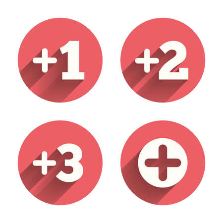 number three: Plus icons. Positive symbol. Add one, two, three and four more sign. Pink circles flat buttons with shadow. Vector Illustration
