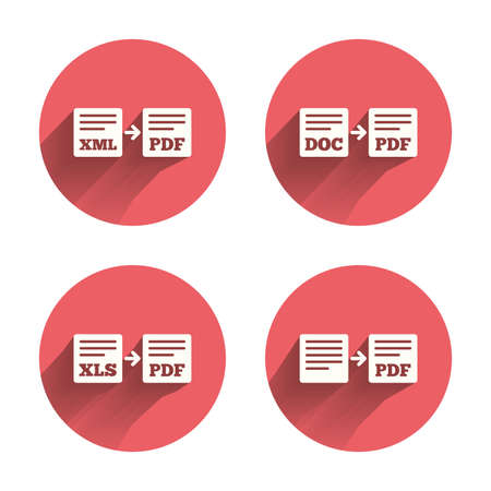 convert: Export file icons. Convert DOC to PDF, XML to PDF symbols. XLS to PDF with arrow sign. Pink circles flat buttons with shadow. Vector Illustration