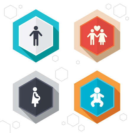 birth sign: Hexagon buttons. Family lifetime icons. Couple love, pregnancy and birth of a child symbols. Human male person sign. Labels with shadow. Vector Illustration