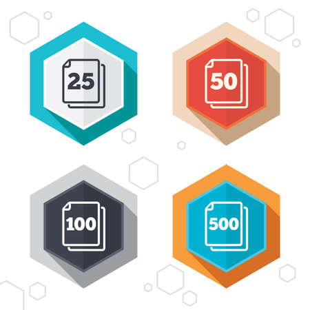 quantity: Hexagon buttons. In pack sheets icons. Quantity per package symbols. 25, 50, 100 and 500 paper units in the pack signs. Labels with shadow. Vector