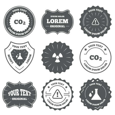 danger carbon dioxide  co2  labels: Vintage emblems, labels. Attention and radiation icons. Chemistry flask sign. CO2 carbon dioxide symbol. Design elements. Vector