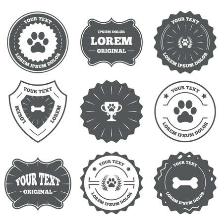 retro badge: Vintage emblems, labels. Pets icons. Dog paw sign. Winner laurel wreath and cup symbol. Pets food. Design elements. Vector