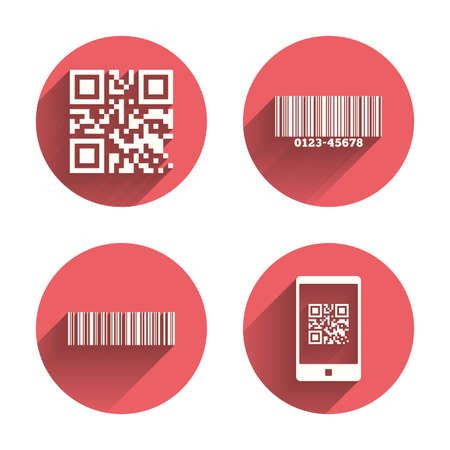 barcode scan: Bar and Qr code icons. Scan barcode in smartphone symbols. Pink circles flat buttons with shadow. Vector