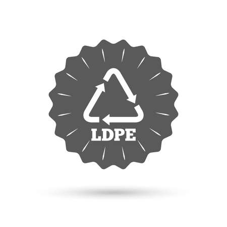 monomer: Vintage emblem medal. Ld-pe icon. Low-density polyethylene sign. Recycling symbol. Classic flat icon. Vector