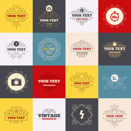 luminance: Vintage frames, labels. Photo camera icon. Flash light and exposure symbols. Stopwatch timer 10 seconds sign. Scroll elements. Vector