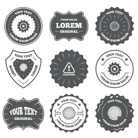Vintage emblemen, labels. Hout en zag ronde wiel pictogrammen. Aandacht voorzichtigheid symbool. Zagerij en houtbewerking fabriek tekenen. Design elementen. Vector