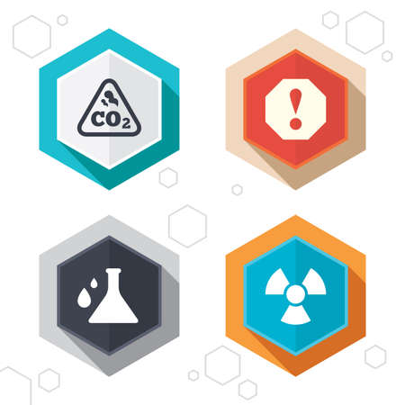 danger carbon dioxide  co2  labels: Hexagon buttons. Attention and radiation icons. Chemistry flask sign. CO2 carbon dioxide symbol. Labels with shadow. Vector