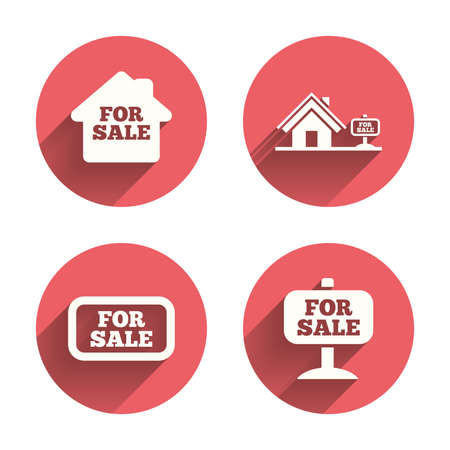 house for sale: For sale icons. Real estate selling signs. Home house symbol. Pink circles flat buttons with shadow. Vector Illustration
