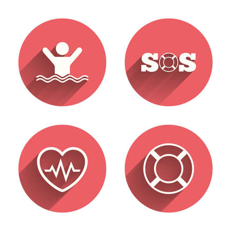 drowns: SOS lifebuoy icon. Heartbeat cardiogram symbol. Swimming sign. Man drowns. Pink circles flat buttons with shadow. Vector