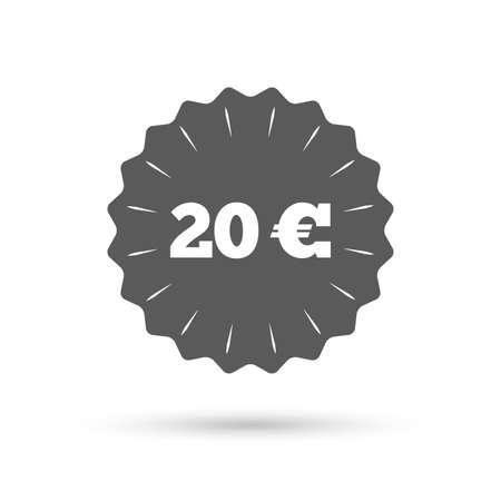 eur: Vintage emblem medal. 20 Euro sign icon. EUR currency symbol. Money label. Classic flat icon. Vector Illustration