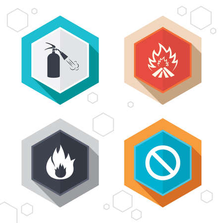 no edges: Hexagon buttons. Fire flame icons. Fire extinguisher sign. Prohibition stop symbol. Labels with shadow. Vector