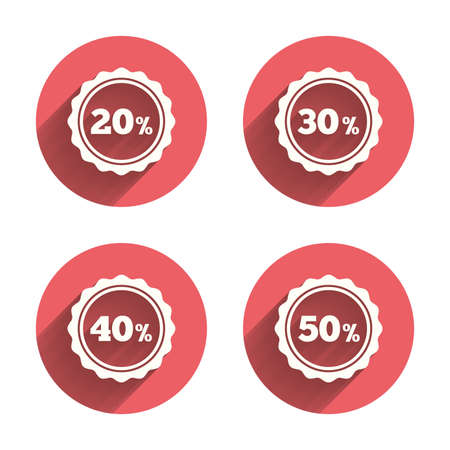 30 to 40: Sale discount icons. Special offer stamp price signs. 20, 30, 40 and 50 percent off reduction symbols. Pink circles flat buttons with shadow. Vector