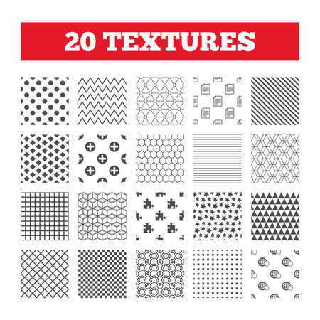 puzzle globe: Seamless patterns. Endless textures. Plus add circle and puzzle piece icons. Document file and globe with hand pointer sign symbols. Geometric tiles, rhombus. Vector