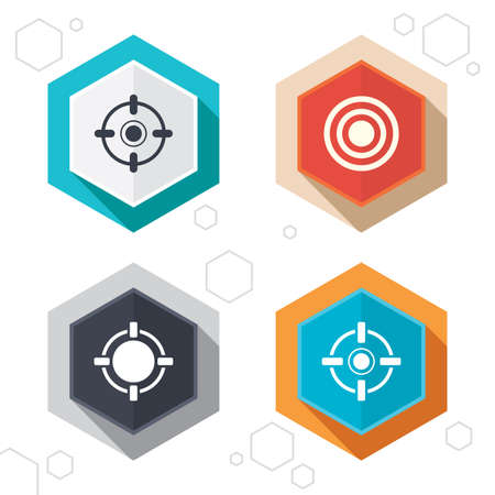 sights: Hexagon buttons. Crosshair icons. Target aim signs symbols. Weapon gun sights for shooting range. Labels with shadow. Vector