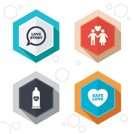 boutons Hexagon. Condom sûres icônes du sexe. Lovers quelques signes. Homme amour féminin. bulle avec le coeur. Les étiquettes avec l'ombre. Vecteur Vecteurs