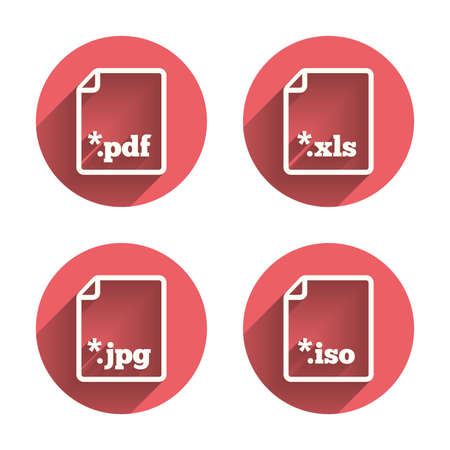 extensions: Download document icons. File extensions symbols. PDF, XLS, JPG and ISO virtual drive signs. Pink circles flat buttons with shadow. Vector