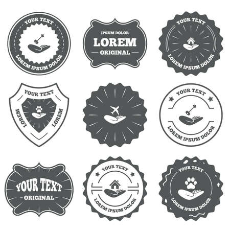 retro badge: Vintage emblems, labels. Helping hands icons. Shelter for dogs symbol. Home house or real estate and key signs. Flight trip insurance. Design elements. Vector
