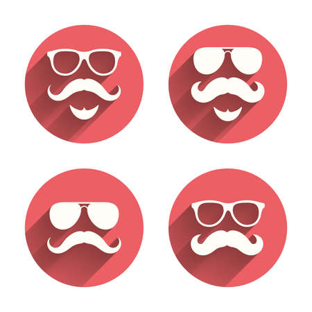 facial hair: Mustache and Glasses icons. Hipster with beard symbols. Facial hair signs. Pink circles flat buttons with shadow. Vector