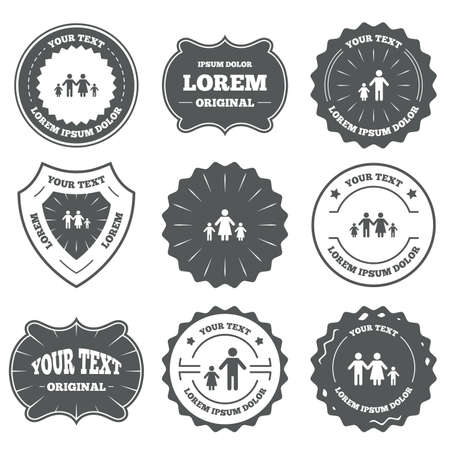 family with two children: Vintage emblems, labels. Family with two children icon. Parents and kids symbols. One-parent family signs. Mother and father divorce. Design elements. Vector Illustration