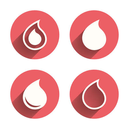 icon buttons: Water drop icons. Tear or Oil drop symbols. Pink circles flat buttons with shadow. Vector