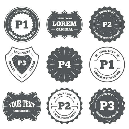 second floor: Vintage emblems, labels. Car parking icons. First, second, third and four floor signs. P1, P2, P3 and P4 symbols. Design elements. Vector