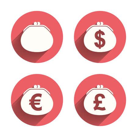 efectivo: Carpeta con el d�lar, el euro y la moneda Libras iconos. signos bolsa de dinero en efectivo. s�mbolo de la riqueza retro. c�rculos rosados ??botones planos con la sombra. Vector Vectores