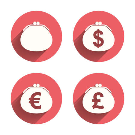 cash: Wallet with Dollar, Euro and Pounds currency icons. Cash bag signs. Retro wealth symbol. Pink circles flat buttons with shadow. Vector