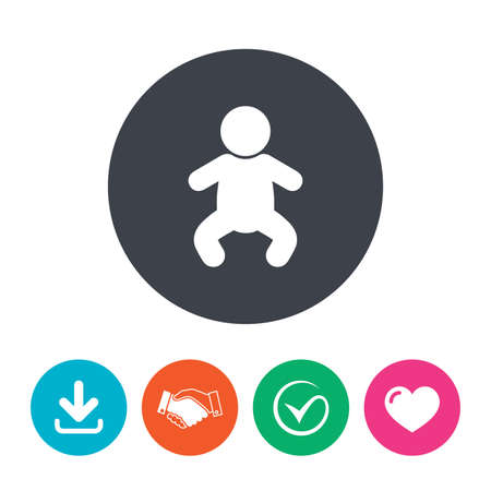 crawlers: Baby infant sign icon. Toddler boy in pajamas or crawlers body symbol. Child WC toilet. Download arrow, handshake, tick and heart. Flat circle buttons. Illustration