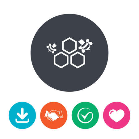 Honeycomb with bees sign icon. Honey cells symbol. Sweet natural food. Download arrow, handshake, tick and heart. Flat circle buttons. Illustration