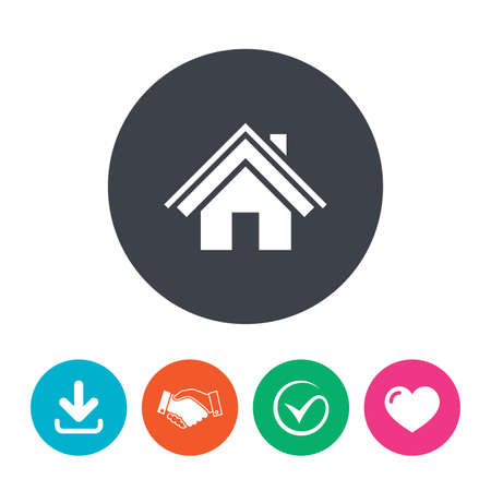 arrow home: Home sign icon. Main page button. Navigation symbol. Download arrow, handshake, tick and heart. Flat circle buttons.