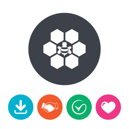 honeycomb like: Honeycomb with bee sign icon. Honey cells symbol. Sweet natural food. Download arrow, handshake, tick and heart. Flat circle buttons.
