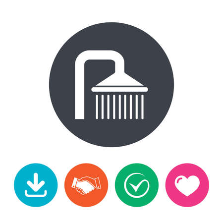 washstand: Shower sign icon. Douche with water drops symbol. Download arrow, handshake, tick and heart. Flat circle buttons.