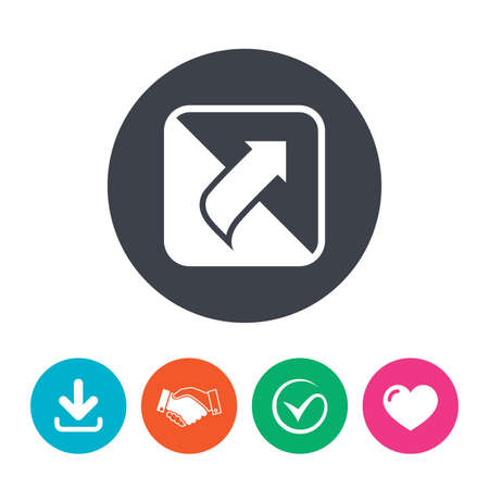 unscrew: Turn page sign icon. Peel back the corner of the sheet symbol. Download arrow, handshake, tick and heart. Flat circle buttons. Illustration