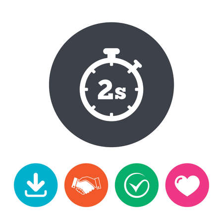 seconds: Timer 2 seconds sign icon. Stopwatch symbol. Download arrow, handshake, tick and heart. Flat circle buttons. Illustration