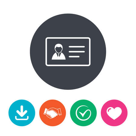 identity card: ID card sign icon. Identity card badge symbol. Download arrow, handshake, tick and heart. Flat circle buttons. Illustration