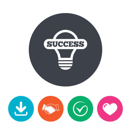 idea symbol: Light lamp sign icon. Bulb with success symbol. Idea symbol. Download arrow, handshake, tick and heart. Flat circle buttons. Illustration